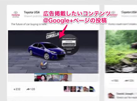 google+ページ内のコンテンツを宣伝