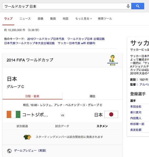 ワールドカップ期間中のgoogle検索