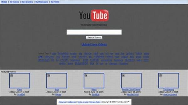 youtubeの初期デザイン