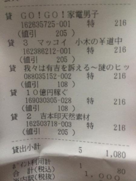 TSUTAYAでは5枚1080円でレンタルできる