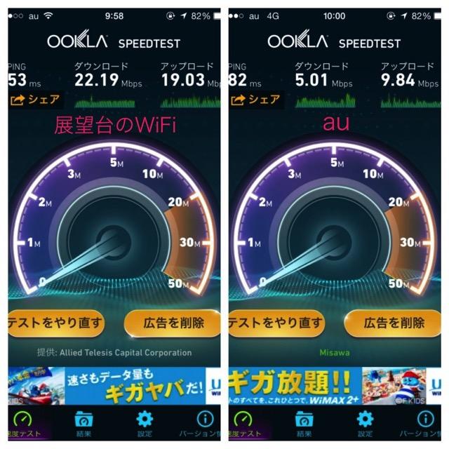 函館山のフリーwifiはauの4glteより速い