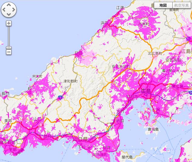 広島のwimaxのカバーエリア