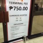 【注意】セブ空港から出国する際は750ペソの使用料がかかる(現金のみ)!ANAならチケット代込みなので心配なし!