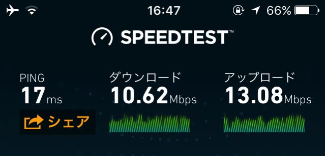 モスバーガーWi-Fiの速度